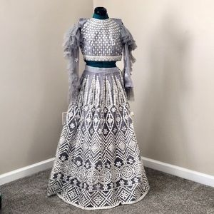 Dresses & Skirts - Embroidered grey and silver lehenga